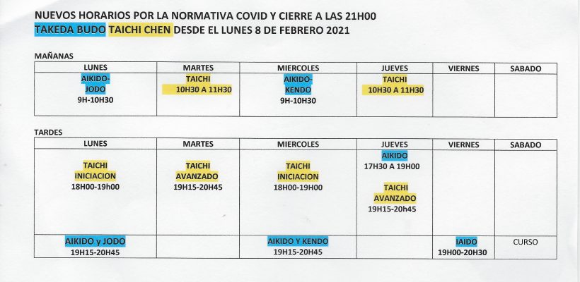 HORARIOS ACTIVIDADES ESCUELA WUJI 2020-2021