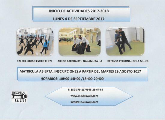 INICIO DE ACTIVIDADES 2017-2018 LUNES 4 DE SEPTIEMBRE 2017