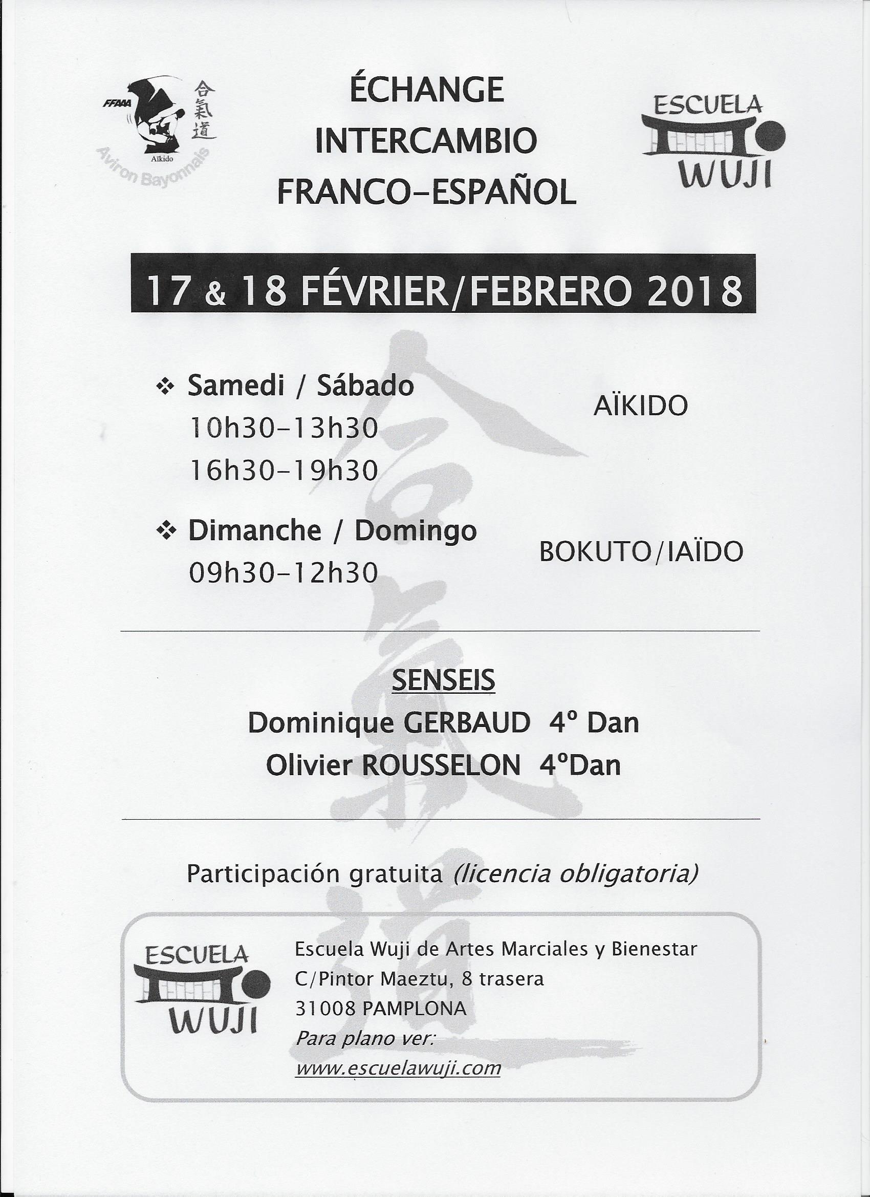 INTERCAMBIO FRANCO-ESPAÑOL  AIKIDO  17 Y 18 DE FEBRERO 2018